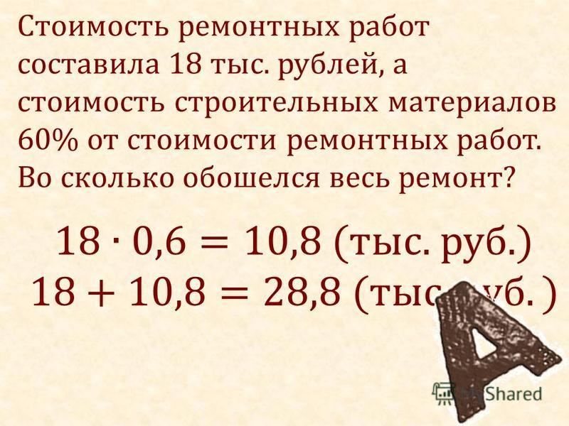 Стоимость ремонтных работ составила 18 тыс. рублей, а стоимость строительных материалов 60% от стоимости ремонтных работ. Во сколько обошелся весь ремонт?