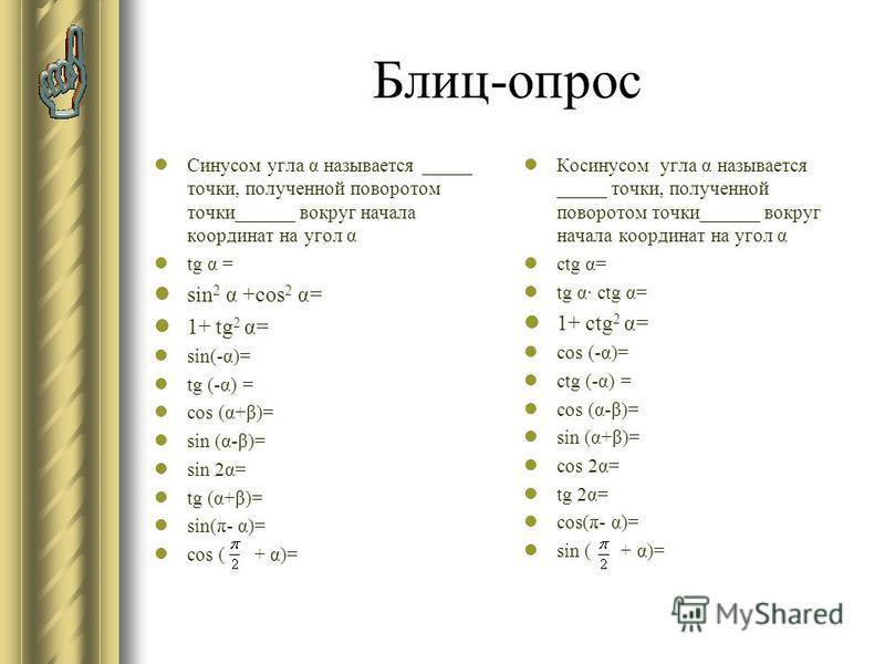 Блиц-опрос Синусом угла α называется _____ точки, полученной поворотом точки______ вокруг начала координат на угол α tg α = sin 2 α +cos 2 α= 1+ tg 2 α= sin(-α)= tg (-α) = cos (α+β)= sin (α-β)= sin 2α= tg (α+β)= sin(π- α)= cos ( + α)= Косинусом угла