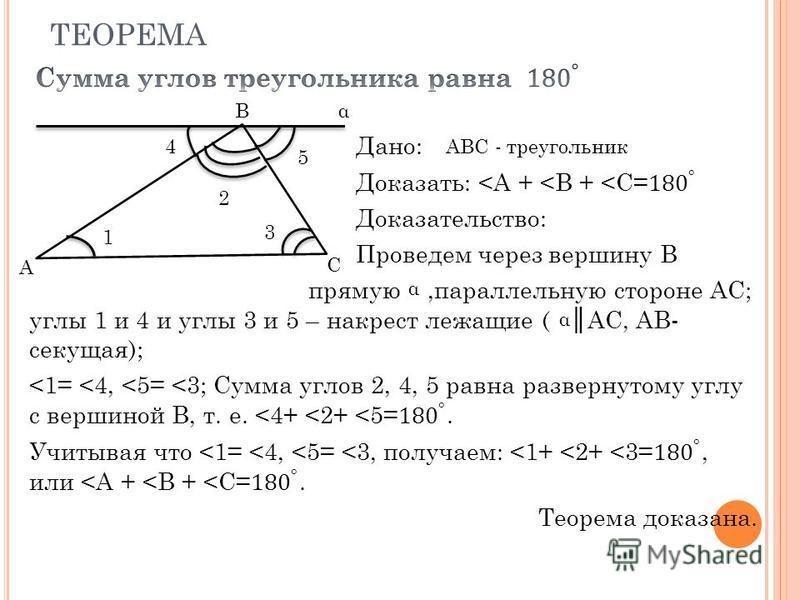 ТЕОРЕМА B C A α 1 3 5 4 2 ABC - треугольник α α