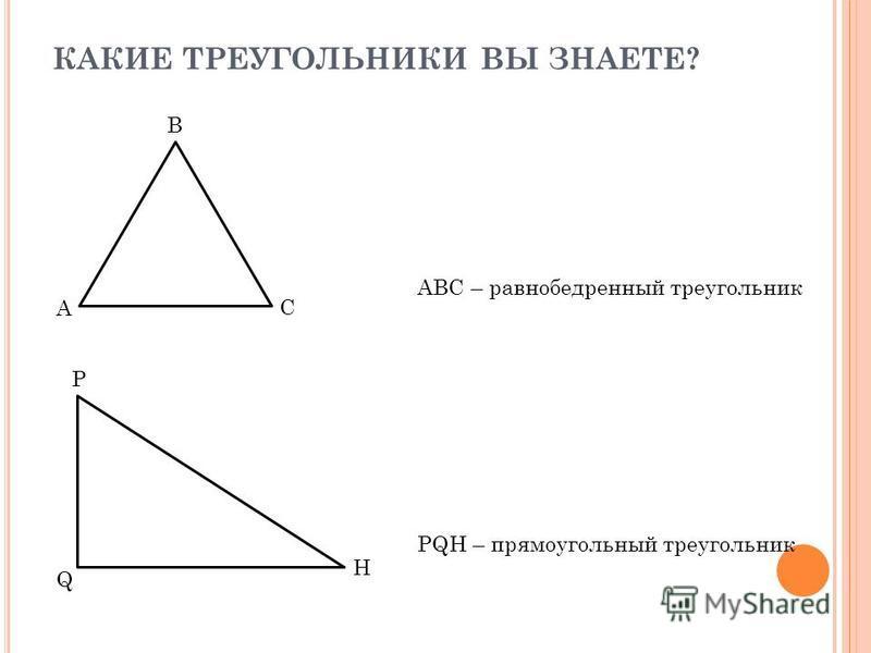 КАКИЕ ТРЕУГОЛЬНИКИ ВЫ ЗНАЕТЕ? ABC – равнобедренный треугольник C B A PQH – прямоугольный треугольник H Q P
