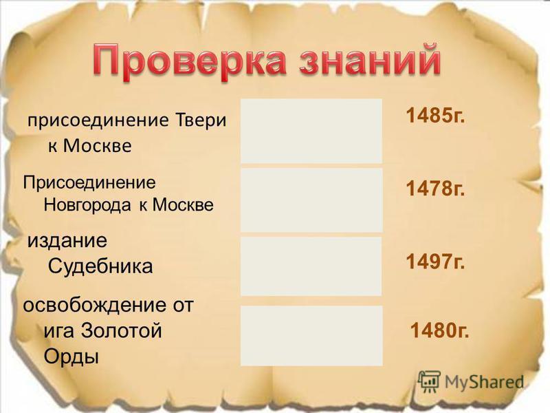 присоединение Твери к Москве Присоединение Новгорода к Москве издание Судебника освобождение от ига Золотой Орды 1497 г. 1478 г. 1485 г. 1480 г.