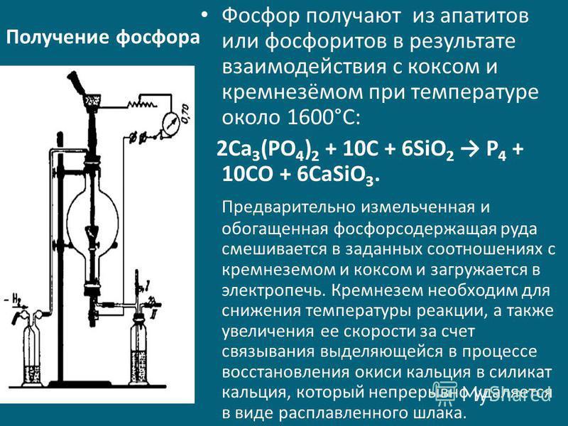 Получение фосфора Фосфор получают из апатитов или фосфоритов в результате взаимодействия с коксом и кремнезёмом при температуре около 1600°С: 2Ca 3 (PO 4 ) 2 + 10C + 6SiO 2 P 4 + 10CO + 6CaSiO 3. Предварительно измельченная и обогащенная фосфорсодерж