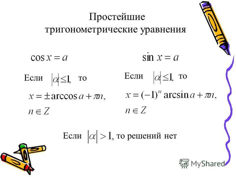Если то решений нет Если то Простейшие тригонометрические уравнения Если то