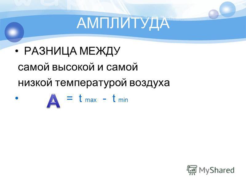 АМПЛИТУДА РАЗНИЦА МЕЖДУ самой высокой и самой низкой температурой воздуха = t max - t min