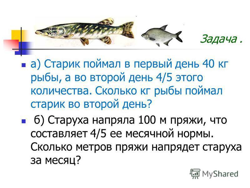 а) Старик поймал в первый день 40 кг рыбы, а во второй день 4/5 этого количества. Сколько кг рыбы поймал старик во второй день? б) Старуха напряла 100 м пряжи, что составляет 4/5 ее месячной нормы. Сколько метров пряжи напрядет старуха за месяц? Зада