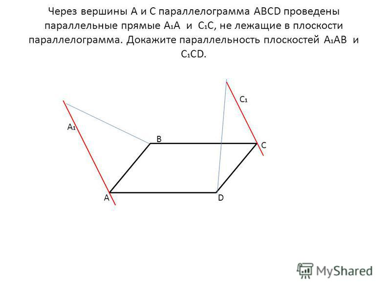 Через вершины А и С параллелограмма ABCD проведены параллельные прямые А 1 А и С 1 С, не лежащие в плоскости параллелограмма. Докажите параллельность плоскостей А 1 АВ и С 1 СD. A A1A1 B C1C1 C D