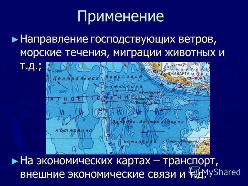 Применение Направление господствующих ветров, морские течения, миграции животных и т.д.; Направление господствующих ветров, морские течения, миграции животных и т.д.; На экономических картах – транспорт, внешние экономические связи и т.д. На экономич