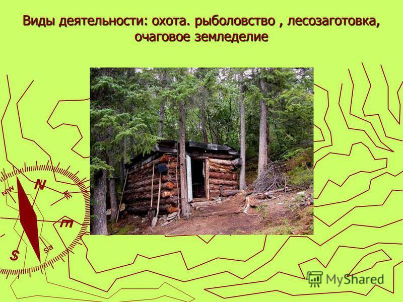 Виды деятельности: охота. рыболовство, лесозаготовка, очаговое земледелие