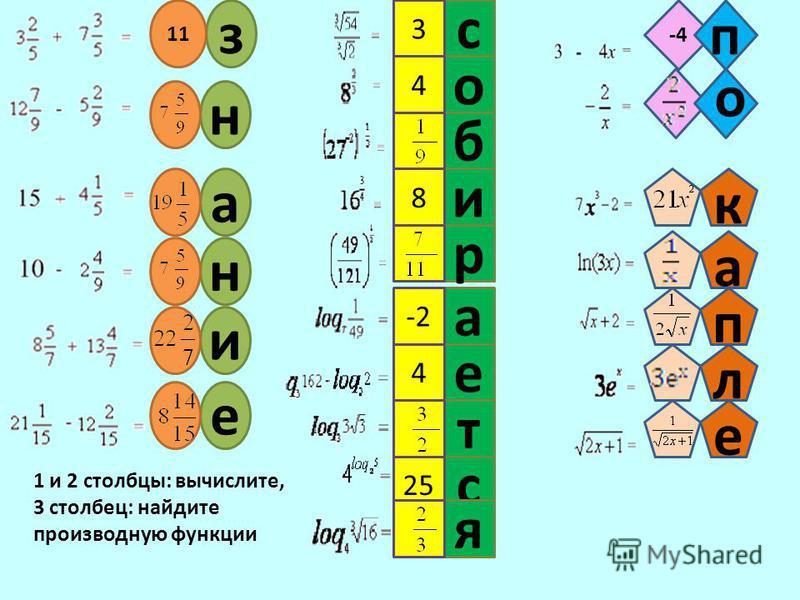 з 11 знание е 4 а -2 с 3 о 4 и 8 с 25 ятрб -4 п 1 и 2 столбцы: вычислите, 3 столбец: найдите производную функции капле о