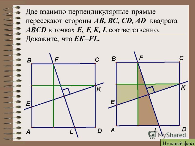 Две взаимно перпендикулярные прямые пересекают стороны АВ, ВС, CD, AD квадрата ABCD в точках E, F, K, L соответственно. Докажите, что ЕК=FL. Нужный факт