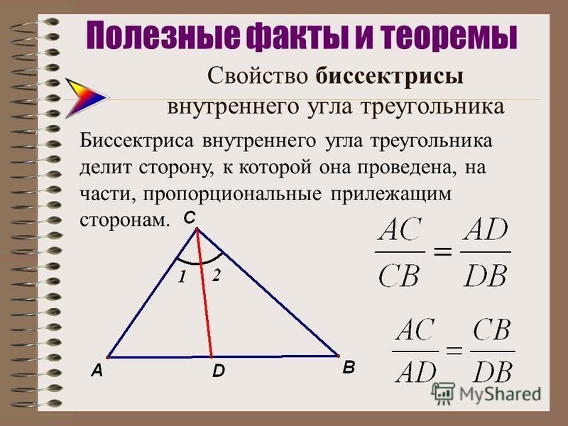 Свойство биссектрисы внутреннего угла треугольника Биссектриса внутреннего угла треугольника делит сторону, к которой она проведена, на части, пропорциональные прилежащим сторонам.