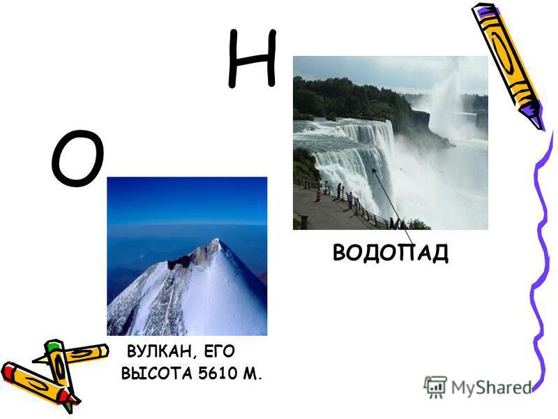Н О ВУЛКАН, ЕГО ВЫСОТА 5610 М. ВОДОПАД