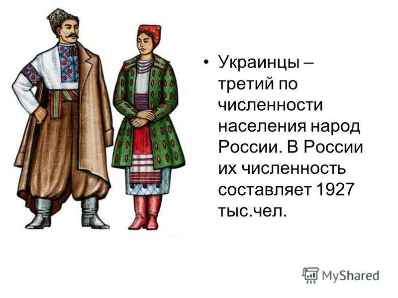 Украинцы – третий по численности населения народ России. В России их численность составляет 1927 тыс.чел.