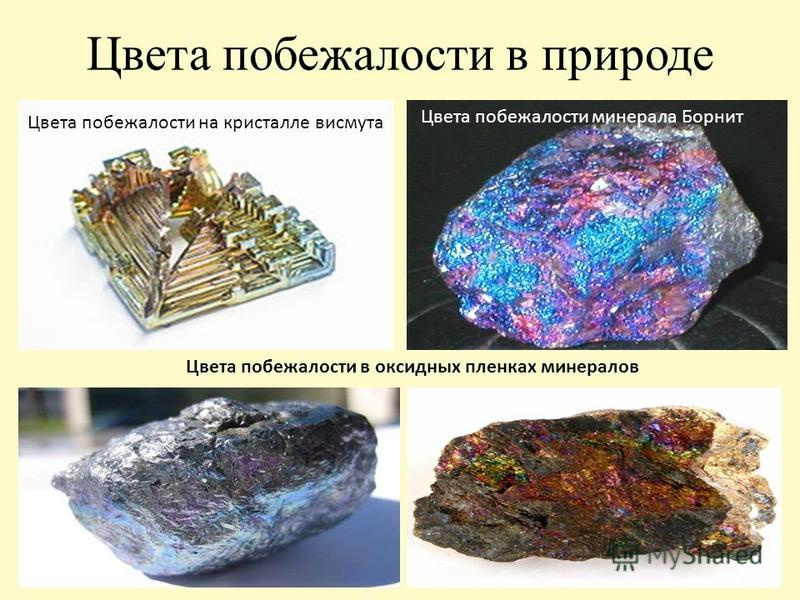 Цвета побежалости в природе Цвета побежалости на кристалле висмута Цвета побежалости минерала Борнит Цвета побежалости в оксидных пленках минералов