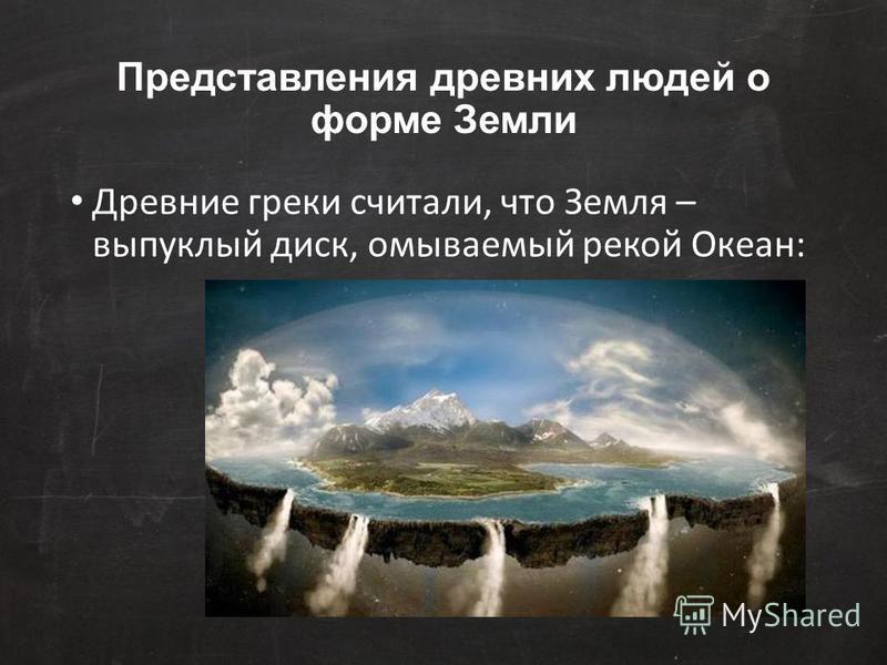 Представления древних людей о форме Земли Древние греки считали, что Земля – выпуклый диск, омываемый рекой Океан: