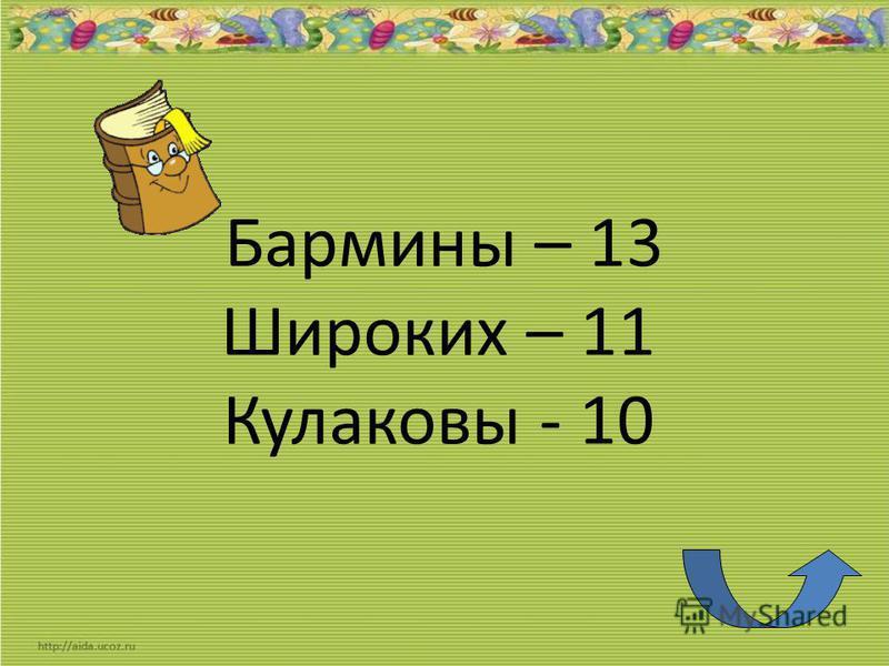 Бармины – 13 Широких – 11 Кулаковы - 10