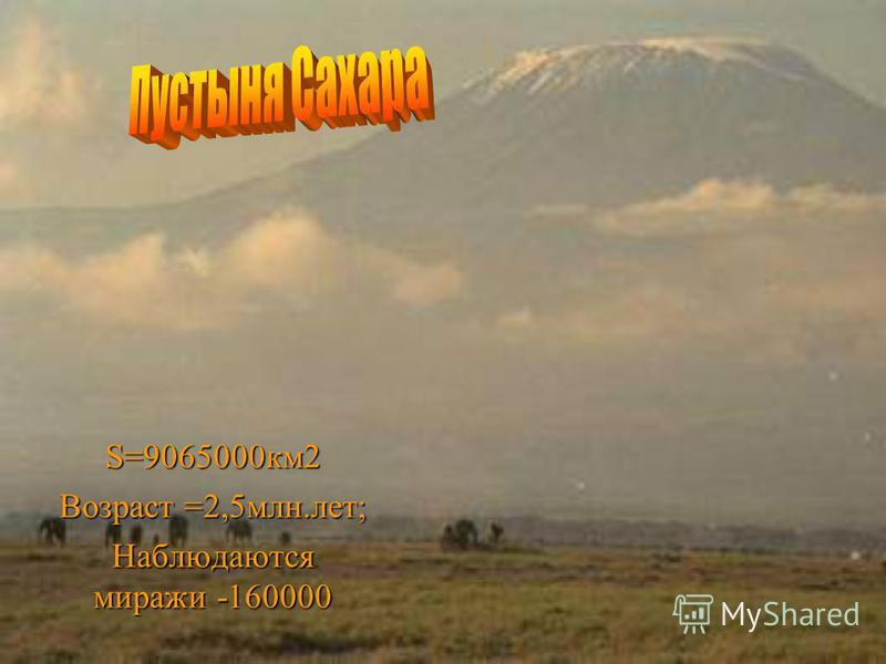 S=9065000 км 2 Возраст =2,5 млн.лет; Наблюдаются миражи -160000