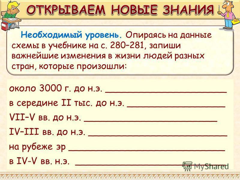 Необходимый уровень. Опираясь на данные схемы в учебнике на с. 280–281, запиши важнейшие изменения в жизни людей разных стран, которые произошли: около 3000 г. до н.э. _____________________ в середине II тыс. до н.э. _________________ VII–V вв. до н.