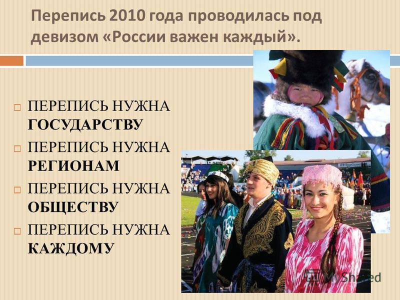 Перепись 2010 года проводилась под девизом « России важен каждый ». ПЕРЕПИСЬ НУЖНА ГОСУДАРСТВУ ПЕРЕПИСЬ НУЖНА РЕГИОНАМ ПЕРЕПИСЬ НУЖНА ОБЩЕСТВУ ПЕРЕПИСЬ НУЖНА КАЖДОМУ