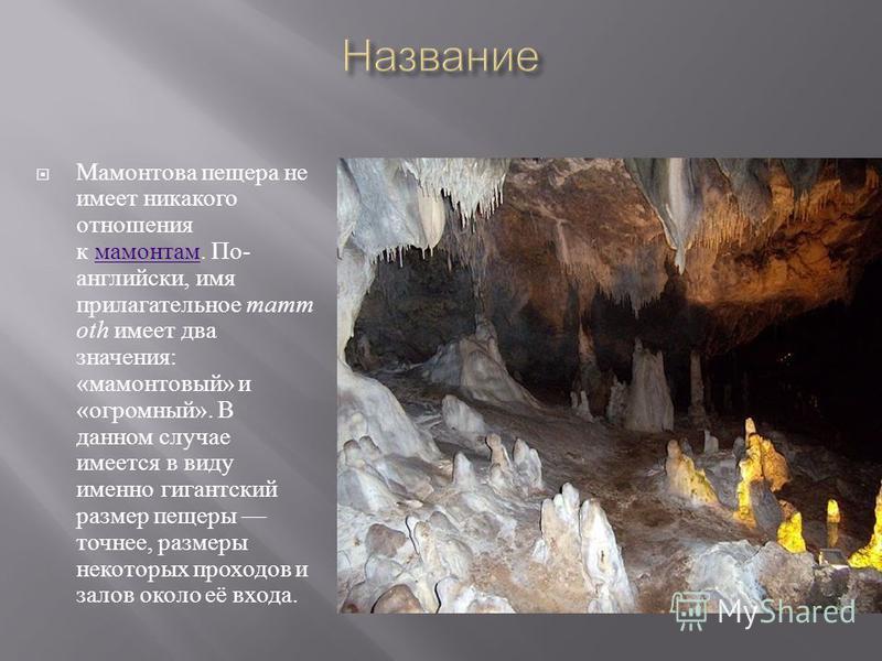 Пещера образовалась около 10 миллионов лет назад Была известна индейцам ; спелеологи нашли несколько индейских мумий и захоронений. Открыта американскими первопроходцами в 1797 году. В 1798 году, Валентайн Саймон купил вход в пещеру для добычи калиев