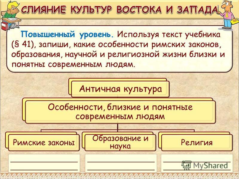 Повышенный уровень. Используя текст учебника (§ 41), запиши, какие особенности римских законов, образования, научной и религиозной жизни близки и понятны современным людям. Античная культура Особенности, близкие и понятные современным людям Римские з