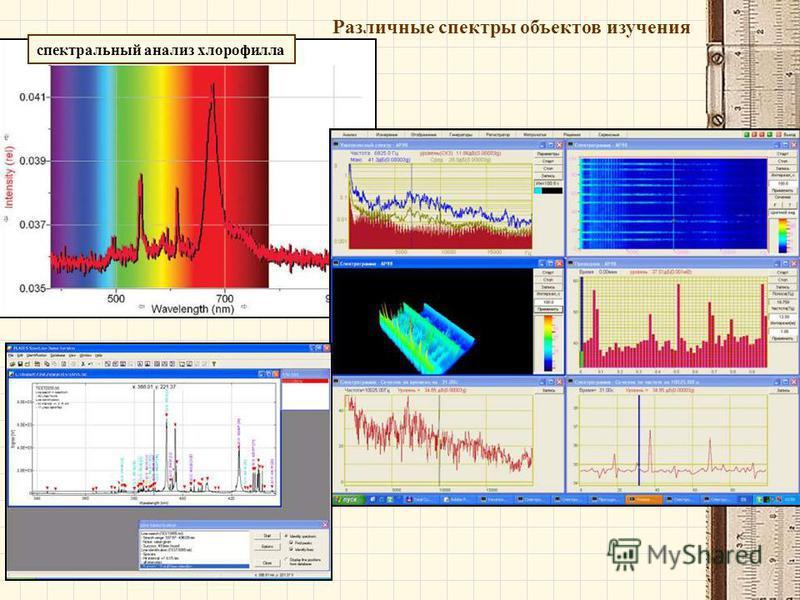Различные спектры объектов изучения спектральный анализ хлорофилла