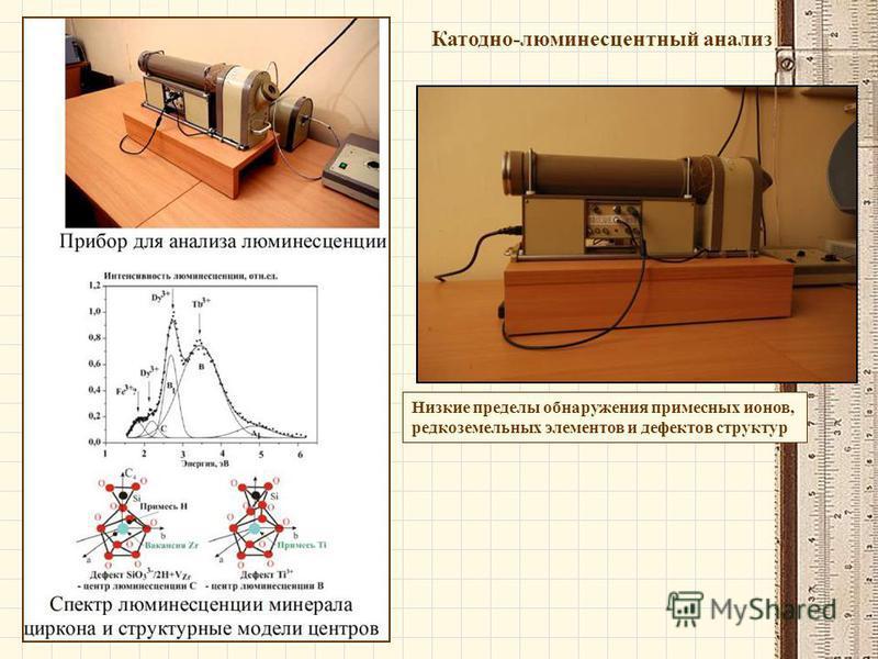 Катодно-люминесцентный анализ Низкие пределы обнаружения примесных ионов, редкоземельных элементов и дефектов структур