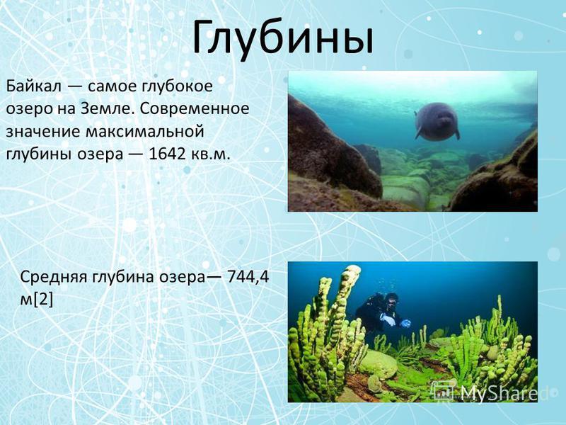 Глубины Байкал самое глубокое озеро на Земле. Современное значение максимальной глубины озера 1642 кв.м. Средняя глубина озера 744,4 м[2]
