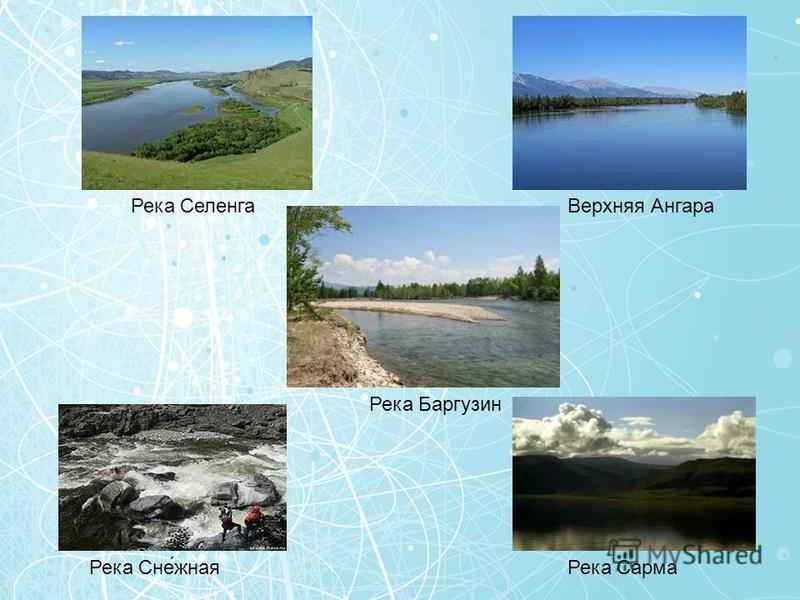 Река Селенга Верхняя Ангара Река Баргузин Река Сне́южная Река Сарма