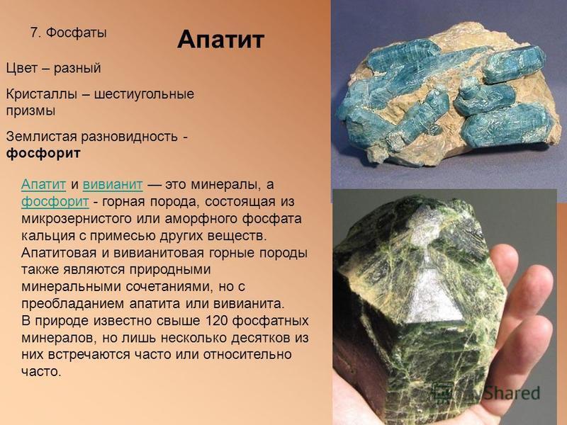 7. Фосфаты Апатит Цвет – разный Кристаллы – шестиугольные призмы Землистая разновидность - фосфорит Апатит Апатит и вивианит это минералы, а фосфорит - горная порода, состоящая из микрозернистого или аморфного фосфата кальция с примесью других вещест