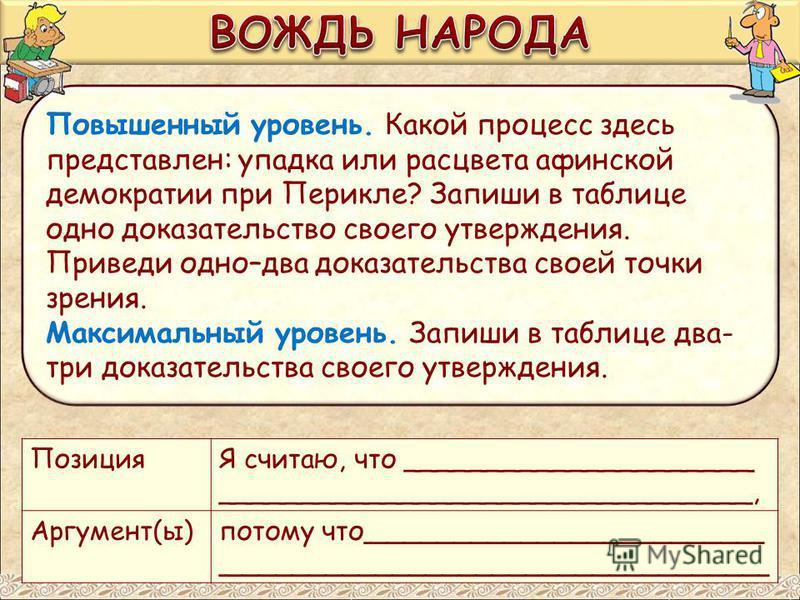 Повышенный уровень. Какой процесс здесь представлен: упадка или расцвета афинской демократии при Перикле? Запиши в таблице одно доказательство своего утверждения. Приведи одно–два доказательства своей точки зрения. Максимальный уровень. Запиши в табл