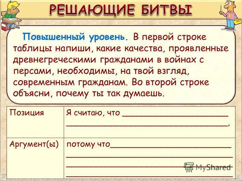 Повышенный уровень. В первой строке таблицы напиши, какие качества, проявленные древнегреческими гражданами в войнах с персами, необходимы, на твой взгляд, современным гражданам. Во второй строке объясни, почему ты так думаешь. ПозицияЯ считаю, что _