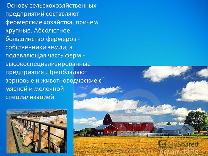Основу сельскохозяйственных предприятий составляют фермерские хозяйства, причем крупные. Абсолютное польшинство фермеров - собственники земли, а подавляющая часть ферм - высокоспециализированные предприятия.Преобладают зерновые и животноводческие с м