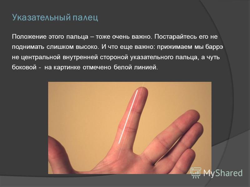 Указательный палец Положение этого пальца – тоже очень важно. Постарайтесь его не поднимать слишком высоко. И что еще важно: прижимаем мы барре не центральной внутренней стороной указательного пальца, а чуть боковой - на картинке отмечено белой линие