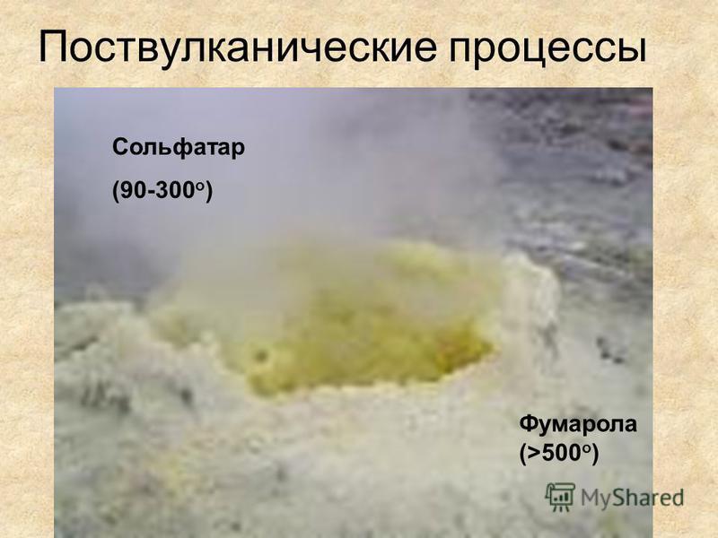 Поствулканические процессы Фумарола (>500 o ) Сольфатар (90-300 o )