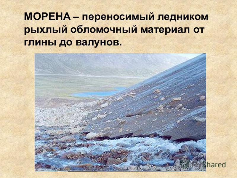 МОРЕНА – переносимый ледником рыхлый обломочный материал от глины до валунов.