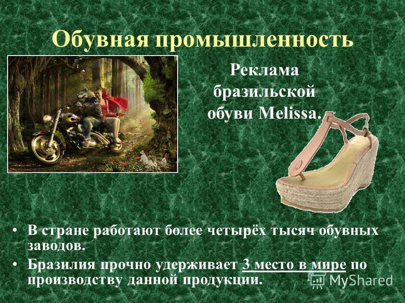 Обувная промышленность В стране работают более четырёх тысяч обувных заводов. Бразилия прочно удерживает 3 место в мире по производству данной продукции. Реклама бразильской обуви Melissa.