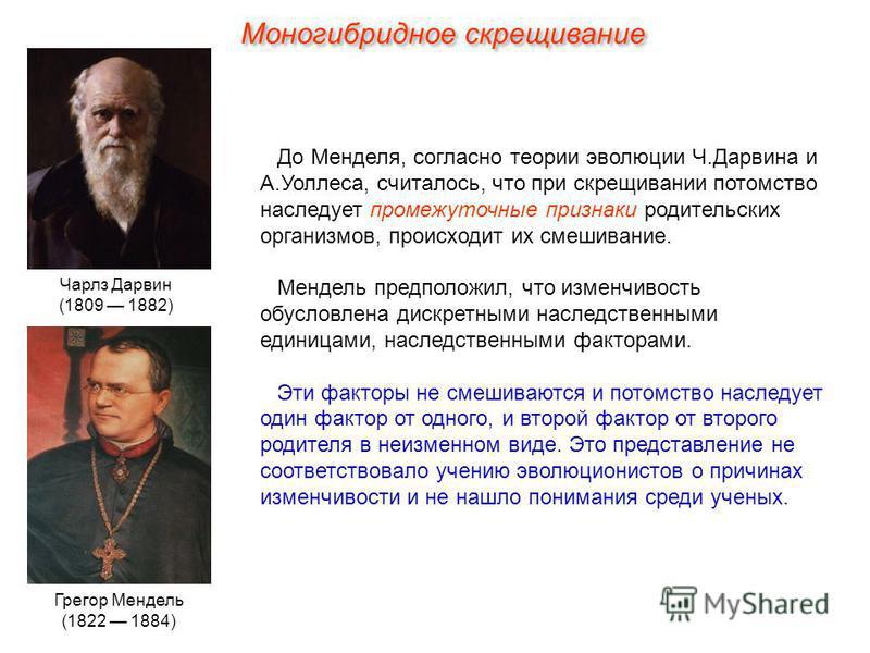 До Менделя, согласно теории эволюции Ч.Дарвина и А.Уоллеса, считалось, что при скрещивании потомство наследует промежуточные признаки родительских организмов, происходит их смешивание. Мендель предположил, что изменчивость обусловлена дискретными нас
