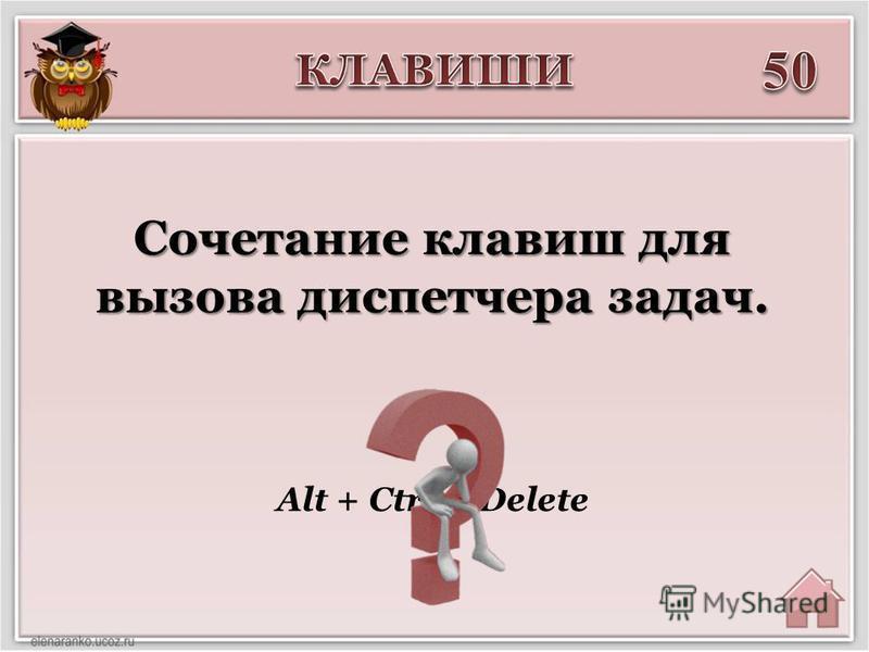 Alt + Ctrl + Delete Сочетание клавиш для вызова диспетчера задач.