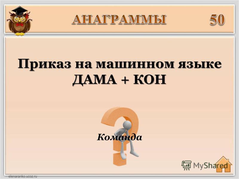Команда Приказ на машинном языке ДАМА + КОН
