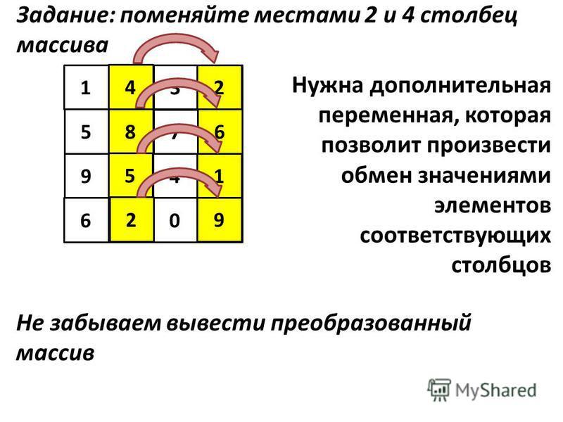 5 123 94 6 4 7 1 8 5 6029 9 Задание: поменяйте местами 2 и 4 столбец массива Нужна дополнительная переменная, которая позволит произвести обмен значениями элементов соответствующих столбцов Не забываем вывести преобразованный массив 8 2 4 2 1 5 6