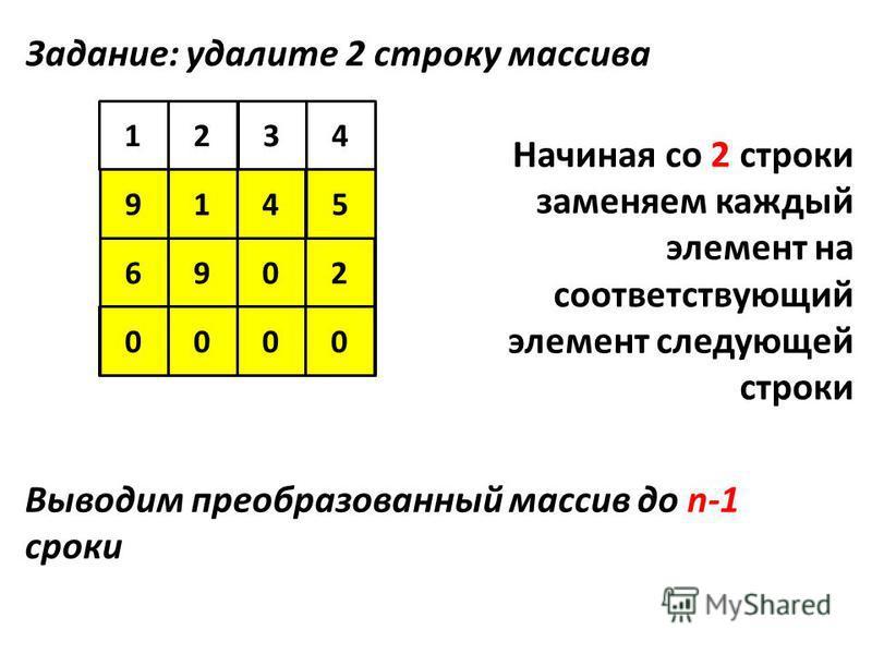 5 123 94 6 4 7 1 8 5 602 9145 6902 09000 Задание: удалите 2 строку массива Начиная со 2 строки заменяем каждый элемент на соответствующий элемент следующей строки Выводим преобразованный массив до n-1 сроки