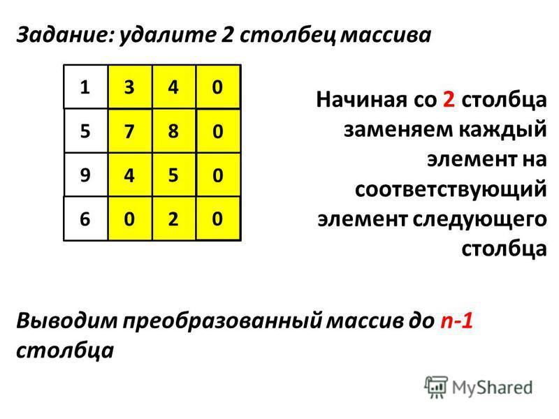 5 123 94 6 4 7 1 8 5 602 340 7 8 4 9 0 0 0 Задание: удалите 2 столбец массива Начиная со 2 столбца заменяем каждый элемент на соответствующий элемент следующего столбца Выводим преобразованный массив до n-1 столбца 5 02