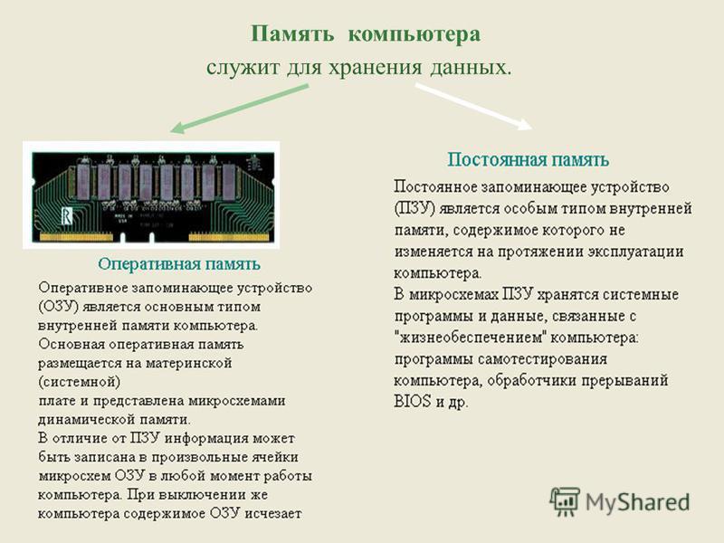Память компьютера служит для хранения данных.