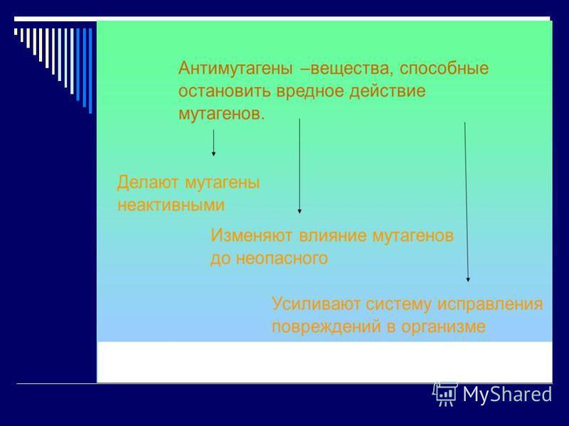 Антимутагенез 2. Искусственный антимутагенез - применение веществ и физических факторов, которые снижают частоту мутаций: 1) витаминов (С, Е, А, Р, В9) 2) аминокислот (метионина, глутаминовой кислоты) 3) серотонина, резерпина; 4 ) растительных препар