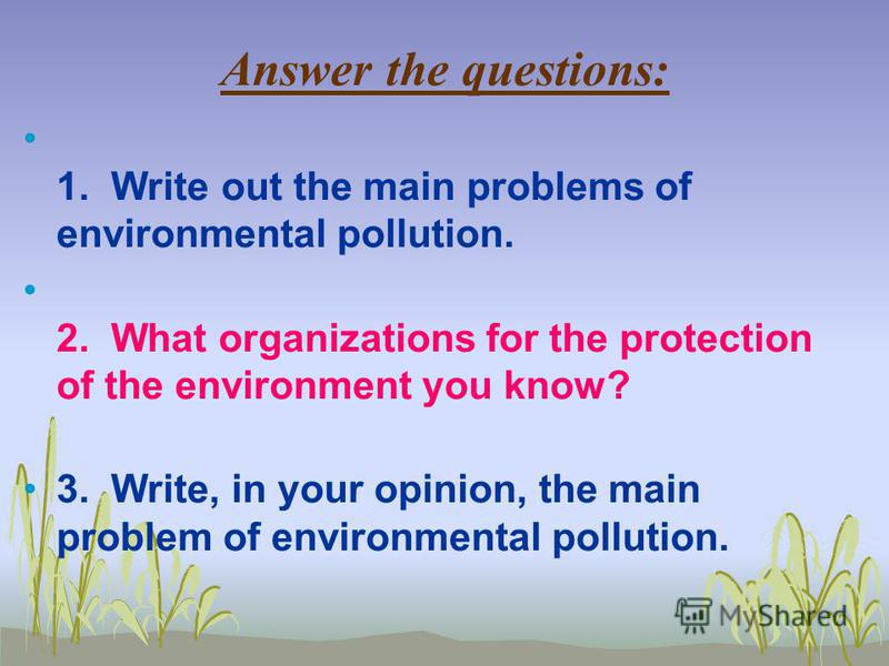 Answer the questions: 1. Write out the main problems of environmental pollution. 2. What organizations for the protection of the environment you know? 3. Write, in your opinion, the main problem of environmental pollution.
