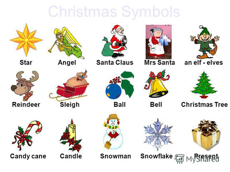 Staran elf - elvesMrs SantaSanta ClausAngel Christmas TreeBellBallSleighReindeer PresentSnowflakeSnowmanCandleCandy cane Christmas Symbols