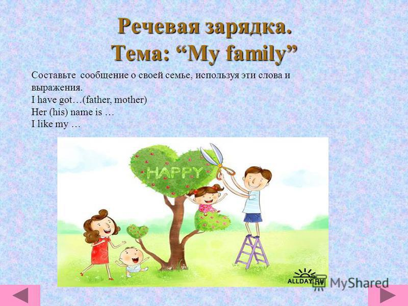 Речевая зарядка. Тема: My family Составьте сообщение о своей семье, используя эти слова и выражения. I have got…(father, mother) Her (his) name is … I like my …