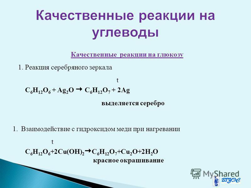 Качественнае реакции на глюкозу 1. Реакция серебряного зеркала t C 6 H 12 O 6 + Ag 2 O C 6 H 12 O 7 + 2Ag выделяется серебро 1. Взаимодействие с гидроксидом меди при нагревании t C 6 H 12 O 6 +2Cu(OH) 2 C 6 H 12 O 7 +Cu 2 O+2H 2 O красное окрашивание