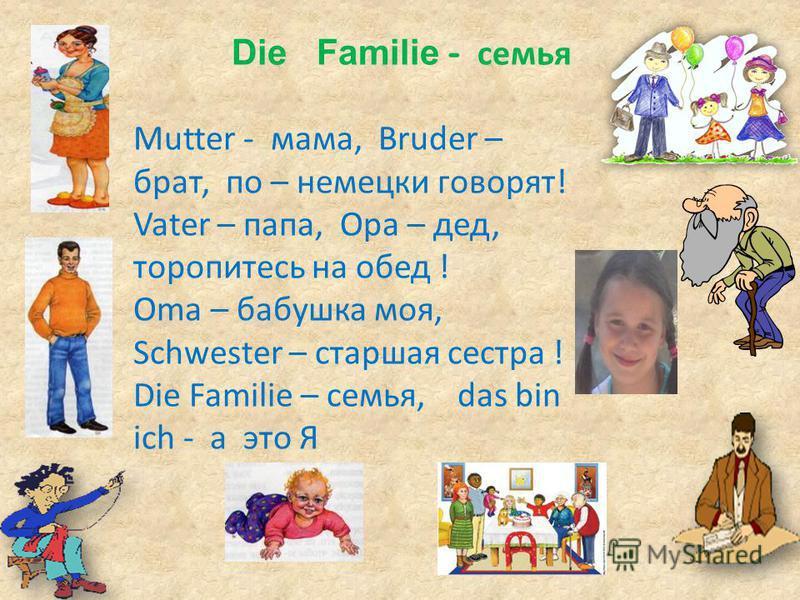 Die Familie - семья Mutter - мама, Bruder – брат, по – немецки говорят! Vater – папа, Opa – дед, торопитесь на обед ! Oma – бабушка моя, Schwester – старшая сестра ! Die Familie – семья, das bin ich - а это Я
